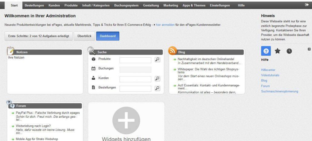 Das Dashboard für Ihren ePages-Shop