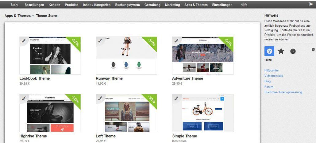 Die integrierten ePages-Themes