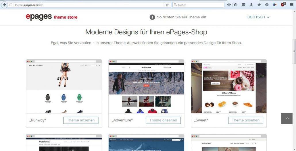 Externe Themes für Ihren ePages-Shop