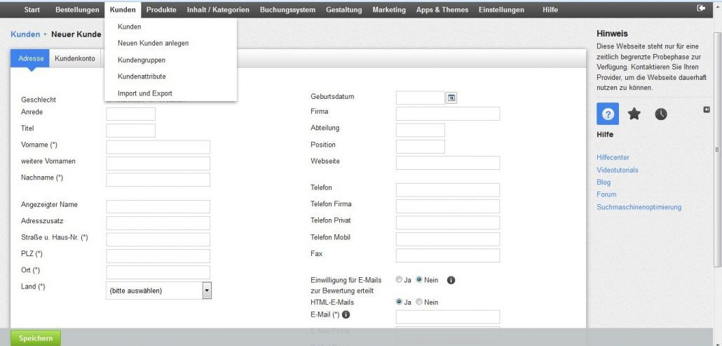 Einen neuen Kunden Ihres ePages-Shops anlegen