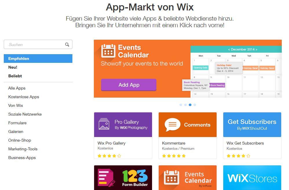 Wix Shop Testbericht: App-Markt