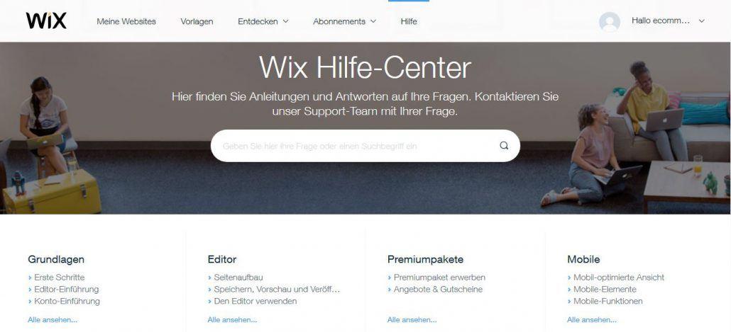 Wix Shop Test: Hilfe-Center