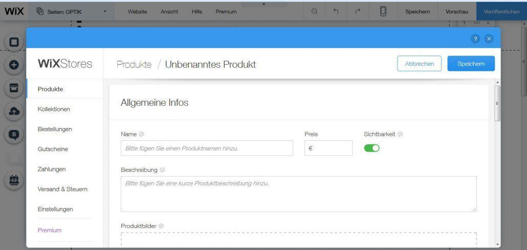 Wix Shop Testbericht: Produkt erstellen
