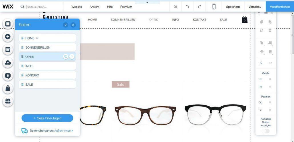 Wix Shop Test: Live-Editor