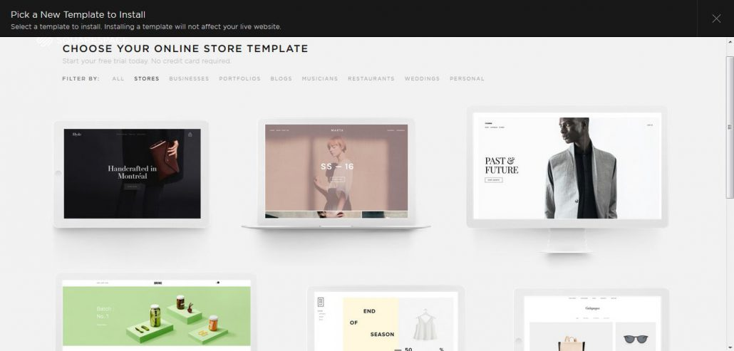Squarespace Test: Templates