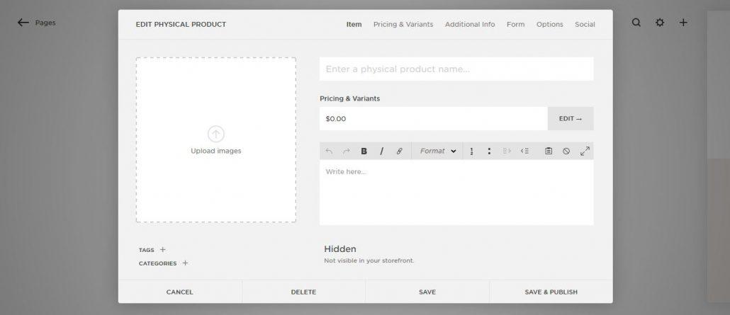 Squarespace Test: Produkt erstellen