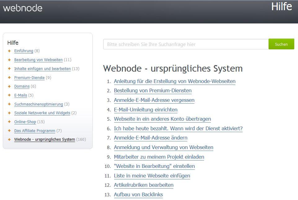 Webnode Testbericht: Wissensdatenbank