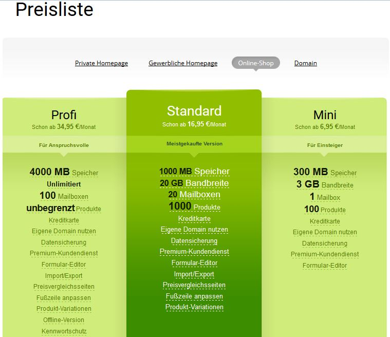 Webnode Testbericht: Preise