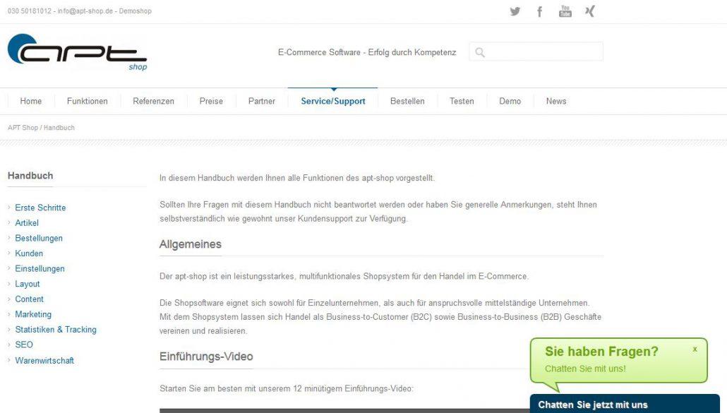 APT Shop Testbericht: Handbuch und Livechat