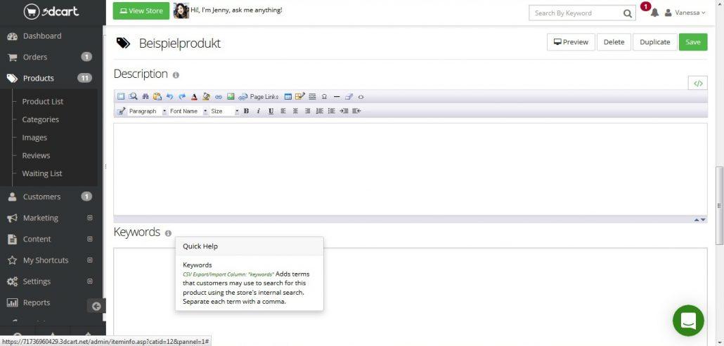 3dCart Testbericht: Beispielprodukt erstellen